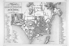 """""""1835 Map of Rio de Janeiro."""" This image is a map of the city of Rio de Janeiro. The map dates from 1835 and was published in Paris (Firmin Didot Frères). It is attributed to Jean Baptiste Debret. The map clearly identifies several streets referenced by Machado in his story """"A Cartomante"""": a Rua da Guarda Velha, and Rua das Mangueiras."""