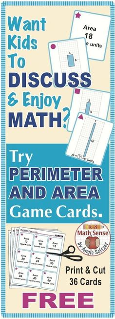 This FREE set of 36 printable cards will help students compare rectangles with the same area but different perimeters (CCSS The dimensions have been carefully chosen to help kids see relationships. ~by Angie Seltzer Teaching Tools, Teaching Math, Teaching Ideas, Math Tools, Creative Teaching, Math Teacher, Math Resources, Math Activities, Math Strategies