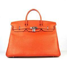6099 Orange Silver Handbag Durable Birkin Hermes 40cm Paris Big Discount