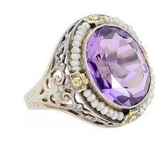 Lilac Promenade - Amethyst Pearl Ring - The Three Graces