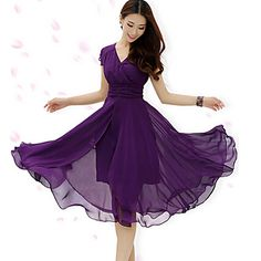 Women's Fashion Inelastic V Neck Ruffle Slim Swing Simplicity Short Sleeve Maxi Dress (Chiffon) – USD $ 32.98
