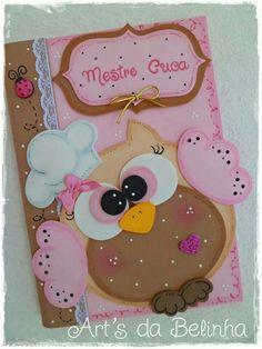 caderno decorado com eva coruja - Pesquisa Google