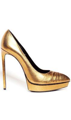 Saint Laurent Heels Gold