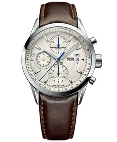 RAYMOND WEIL Watch, Men's Swiss Automatic Chronograph Freelancer Brown Leather Strap 7730-STC-65021