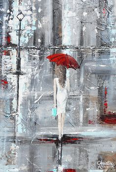"""A Trip to Tiffanys"" #paintingsforpeace #art original palette knife painting, modern contemporary, red umbrella, grey, white, girl rain, rainy day, walk, giclee print, home decor wall art, benefits ending domestic violence"
