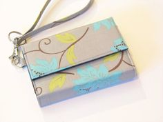 iPhone 6 Wristlet, iPhone 5s case, Moto X Wallet, Also fits M8, LG G2, ,Galaxy S4, Galaxy Note 3 & more - Grey Floral