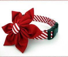 Christmas+Dog+Collar+and+Flower+Accessory++Red+by+BigpawCollars,+$35.00