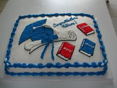 Graduation Cake, Red, White And Blue Graduation Cake Designs, Graduation Desserts, Graduation Party Foods, Graduation Decorations, Graduation Party Decor, Graduation Ideas, Graduation 2016, Sheet Cakes Decorated, Foto Pastel