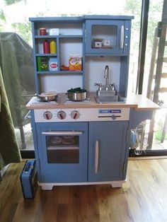 Blue Wooden Play Kitchen white gourmet toy kitchen set | toy kitchen, wooden toys and stove