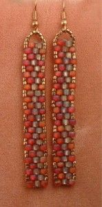 peyote stitch earrings  LOVE w/my favorite tube of beads!!  and with the two tones of orange [15's]