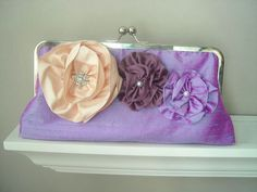 Jessica Modern Dupioni Silk Bridal Clutch with Flower Accents - Made to Order and Customizable in the Colors of your Choice