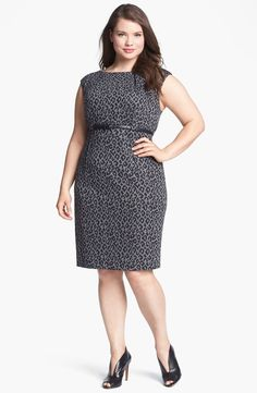 Calvin Klein Cap Sleeve Print Sheath Dress (Plus Size) (Online Only) | Nordstrom