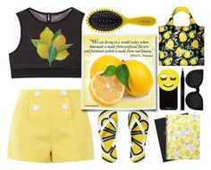 """""""Have a Lemony Day"""" by emcf3548 ❤ liked on Polyvore featuring Boutique Moschino, Drybar, Happy Jackson, Sisley, LOQI, Iphoria and Delalle"""