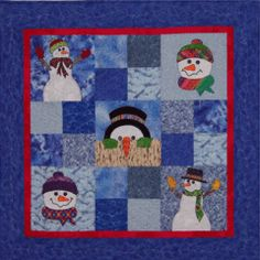 Snowmen - Some Assembly Required - appliqué and patchwork quilt pattern - available at www.CaryQuilting.com