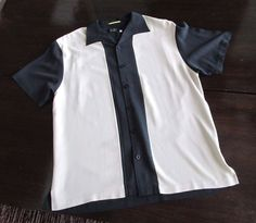 d8ca0a49794 Men s Large Nat Nast Silk Shirt Black and White Front Button Up Luxury  Originals