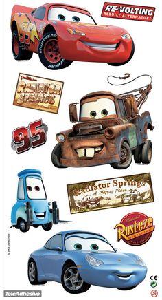 - Lámina de 22x48 cm. que contiene 9 adhesivos relacionados con el mundo de la pelicula Cars.   - Estan impresos en alta resolución y a todo color sobre papel adhesivo removible.  - Cámbialo de lugar cuantas veces quieras.  - Los adhesivos estan troquelados adaptándose a la forma de cada diseño.  - Producto oficial de la marca Disney/Pixar. #decoracion #teleadhesivo Disney Cars Cupcakes, Disney Cars Party, Disney Cars Birthday, Cars Birthday Parties, 30th Birthday Cake Topper, Boy Birthday, Happy Birthday Husband Romantic, Festa Hot Wheels, Kids Cartoon Characters