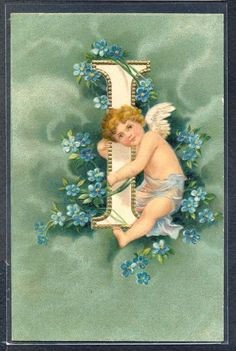 QS131 CLAPSADDLE ALPHABET LETTER I CUPID ANGEL FORGET ME NOT Embossed