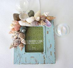 Beach Decor Seashell Christmas Ornament Frame por beachgrasscottage, $10.00