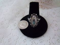 Vintage Sterling Silver Abalone Ring.