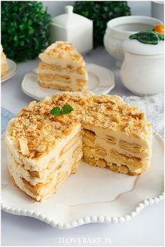 Ciasto napoleon bez pieczenia - I Love Bake Napoleon Cake, Vanilla Cake, Food Photography, Clean Eating, Healthy Recipes, Cookies, Baking, Desserts, Miami