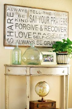 """stencils spray paint wood = easy """"subway art"""" @ Pin Your Home Do It Yourself Furniture, Do It Yourself Home, Spray Paint Wood, Family Rules Sign, Family Sayings, Family Motto, Wall Sayings, Magnolia Farms, Magnolia Market"""