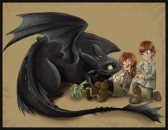 Hiccup, his sister, and Toothless. Or it's Toothless and Hiccup's kids. Either way it's cool.
