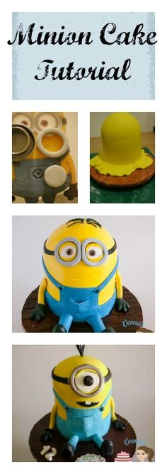 Dave the Minion and Kevin the Minion are the cutest Minions from the Movie Despicable Me. This is a Cute Cake tutorial on how to make a Minion Cake - with step by step progress pictures by Veena Azmanov, Veena's Art of Cakes