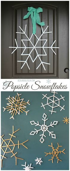 Popsicle snowflakes http://www.sugarbeecrafts.com/2014/12/popsicle-snowflakes.html
