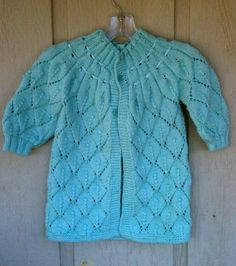 Baby Girls Toddler Sweater Coat Hand Knit Size 2T From a Vintage