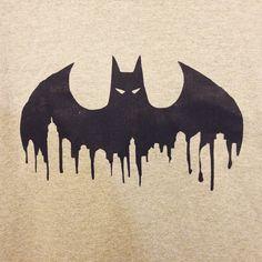 Batman + Gotham city skyline = coolest tshirt I've ever made! #notforsale #boyfriendschristmasgift #diychristmas #homemade #batman #craftychristmas #dearborndrive #etsy #charlotte #nc #queencity #gothamcity #skyline #batsignal
