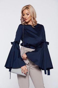 PrettyGirl darkblue elegant bell sleeve women`s blouse, women`s blouse, bell sleeve, long sleeves, elastic fabric Bell Sleeves, Bell Sleeve Top, Summer Blouses, Fabric Textures, Product Label, Dark Blue, Women's Fashion, Elegant, Long Sleeve