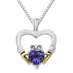"""XPY Sterling Silver and 14k Yellow Gold Amethyst Heart and Diamond in Claddagh Frame Pendant Necklace, 18"""" Amazon Curated Collection. $89.00. The natural properties and composition of mined gemstones define the unique beauty of each piece. The image may show slight differences to the actual stone in color and texture.. Gemstones may have been treated to improve their appearance or durability and may require special care.. Made in China. Save 40%!"""