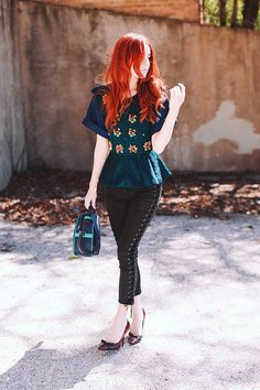 cute as. Jane rocking a Three Floor top, Isabel Marant lace-up pants, Prada pumps & a Meredith Wendell bag. well played girl. #JaneAldridge #SeaOfShoes