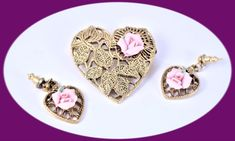 Excited to share the latest addition to my #etsy shop: Vintage Jewelry Set Vintage Brooch an Pierced Earrings Pink Porcelain Rose Brooch An Earrings Vintage Jewelry Costume Jewelry Gift For Mom http://etsy.me/2oH2dU6 #jewelry #gold #pink #earrings #no #vintagejewelryse