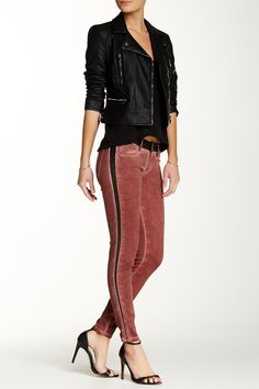 Love these Faux Leather Trim Skinny Jean!