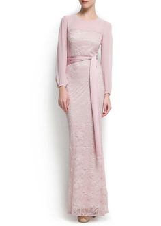 MANGO - Pink Lace gown, very Downton Abbey