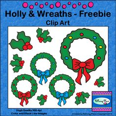 Christmas Wreaths Clip Art - Freebie