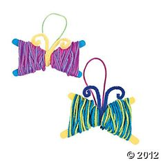 Yarn Butterfly Craft Kit, Decoration Crafts, Craft Kits & Projects, Craft & Hobby Supplies - Oriental Trading