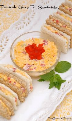 Pimiento Cheese Tea Sandwiches – Famous Last Words Pimento Cheese Sandwiches, Pimiento Cheese, Cheddar Cheese, Tea Recipes, Cooking Recipes, Recipies, Finger Sandwiches, Tea Party Sandwiches Recipes, Appetizer Sandwiches
