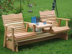 42 How to Build a DIY Farmhouse Outdoor Glider Bench – Farmhouse Room Wooden Adirondack Chairs, Adirondack Furniture, Backyard Furniture, Diy Outdoor Furniture, Outdoor Rooms, Outdoor Chairs, Outdoor Decor, Plywood Furniture, Pallet Furniture