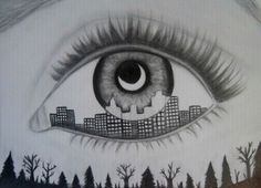 Eye and skyscrapers