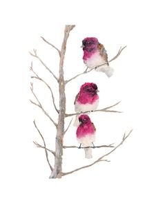 Watercolor Bird Painting, bird art, finches, winter painting, snow, small birds, twigs, nature, original 8X10