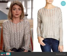 Haley's grey mesh sweater on Modern Family. Outfit Details: http://wornontv.net/53889/ #ModernFamily