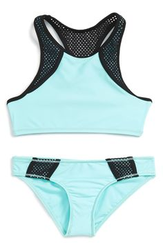 Free shipping and returns on Zella Girl Two-Piece Racerback Swimsuit (Big Girls) at Nordstrom.com. This ice-blue two-piece swimsuit is trimmed with breathable black mesh accents. The sporty cut features a high neck and a racerback for maximum range of motion.