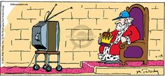 The Comic Strips - Mike Twohy :: That's Life :: :: Image Number: 4655 :: King sits on his throne watching a sporting event on television. He holds his crown in his lap and wears a teams cap on his head. Team Cap, Comic Strips, Cartoons, Crown, King, Number, Flooring, Comics, Sports