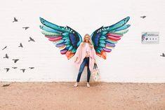 also find the giant blue cactus mural! Graffiti Wall Art, Murals Street Art, Mural Wall Art, Instagram Wall, Instagram Worthy, Angel Wings Art, Wall Painting Decor, Wall Paintings, Frida Art
