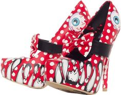 Iron Fist Looky LOU RED Eyeball Polka Punk Rock Platform Heels Shoes Size 7 10 | eBay