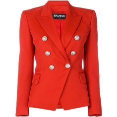 Balmain double-breasted blazer (133,635 INR) ❤ liked on Polyvore featuring outerwear, jackets, blazers, red, tailored blazer, red double breasted blazer, long blazers, double breasted jacket and long red blazer