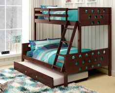 3 Bed Bunk Bed - Twin over Full with Trundle - Custom Kids Furniture