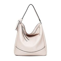 Women Hobo Handbags Shoulder Bag PU Leather Soft Fashion Designer Large Capacity Tote for Ladies (White)